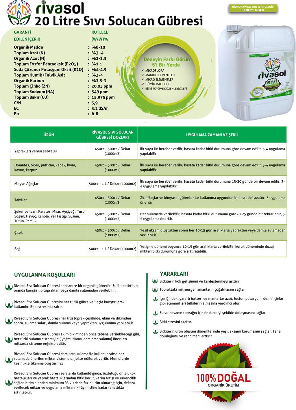 20 litre sıvı solucan gübresi içerik ve kullanım miktarları nedir?
