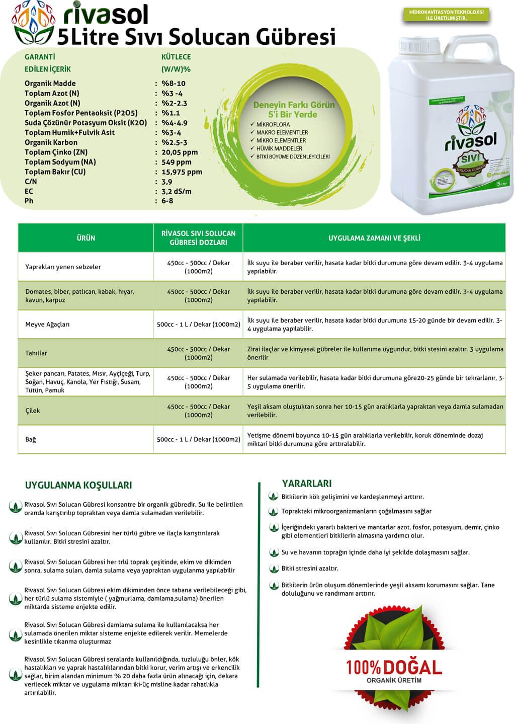 5 litre sıvı solucan gübresi içerik ve kullanım miktarları nedir?